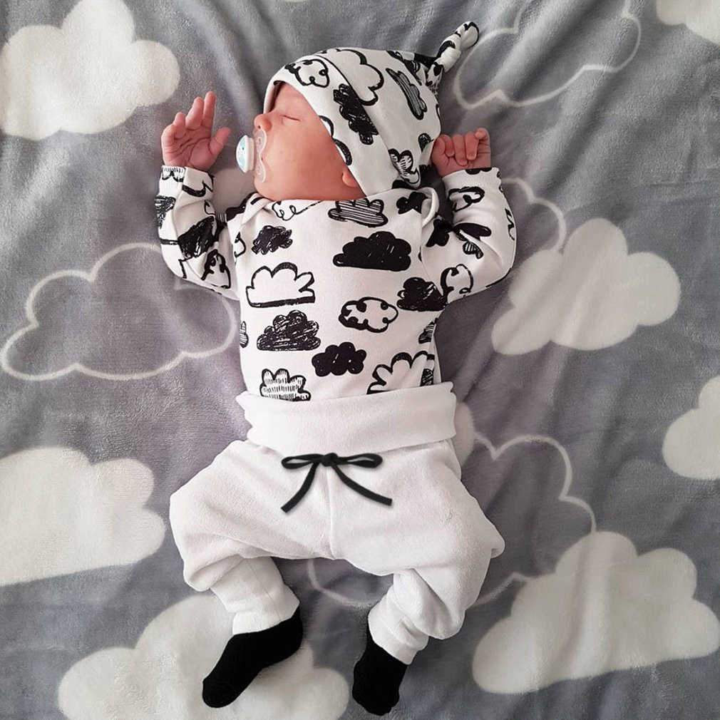 11890a3f79312 💖SF💖 3pcs Newborn Baby Clothes Set Outfit Cloud Pattern Tops + Pants + Hat