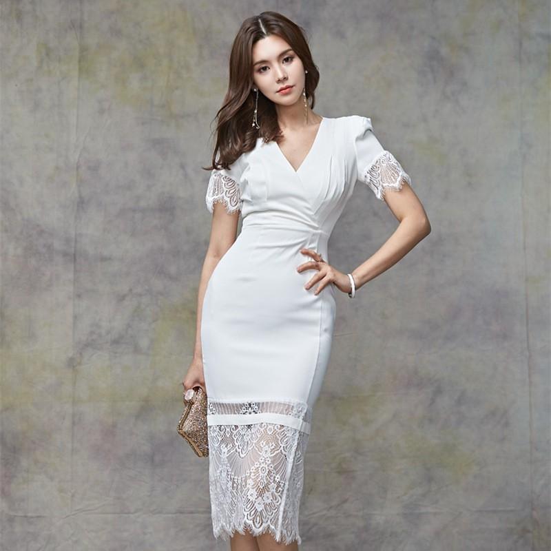 89413e8286fd5 Women Gaun Lace Stitching Short Sleeve White Black Bodycon Midi Dresses  Wedding ROM Engagement Dinner Gaun Party Dress