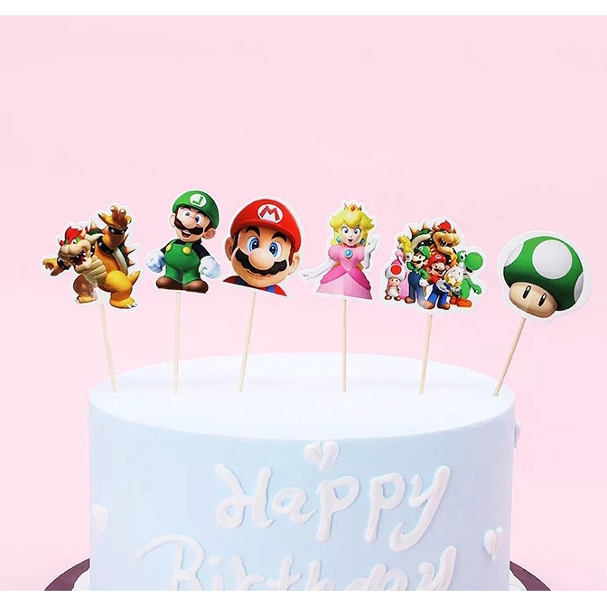 24pcs Pack Super Mario Cartoon Theme Cupcake Topper Wedding Cake Top Decorations