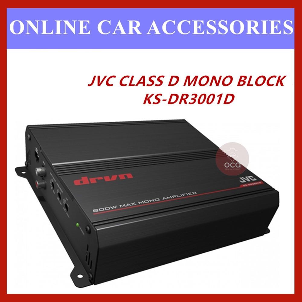 JVC KS-DR3001D DRVN Series Mono Class D Subwoofer Amplifier 800W Peak Monoblock Amplifier 400 watts RMS x 1 at 2 ohms