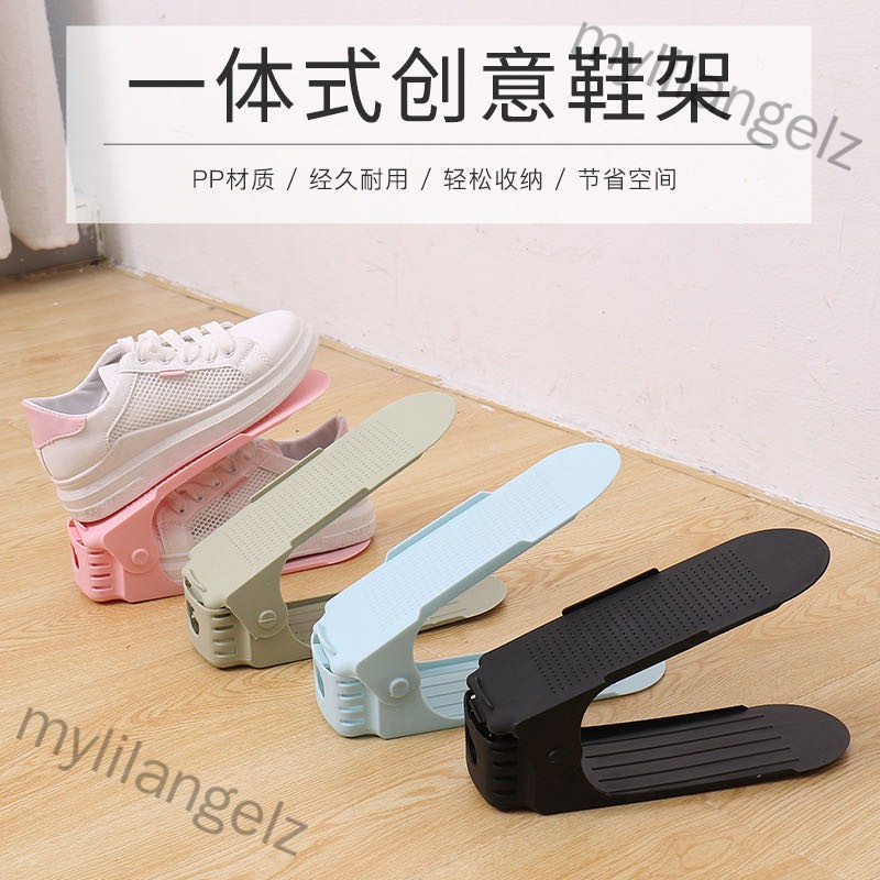 Mylilangelz Malaysia ReadyStock Adjustable and simple double-layer plastic one-piece shoe rack shoe bracket hous