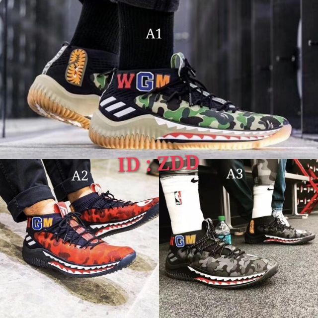 buy online 41594 2d2cb 🌟Ready Stock🌟 Real photos‼️Bape × Adidas Dame 4 Bape united shark🐋 men  shoes