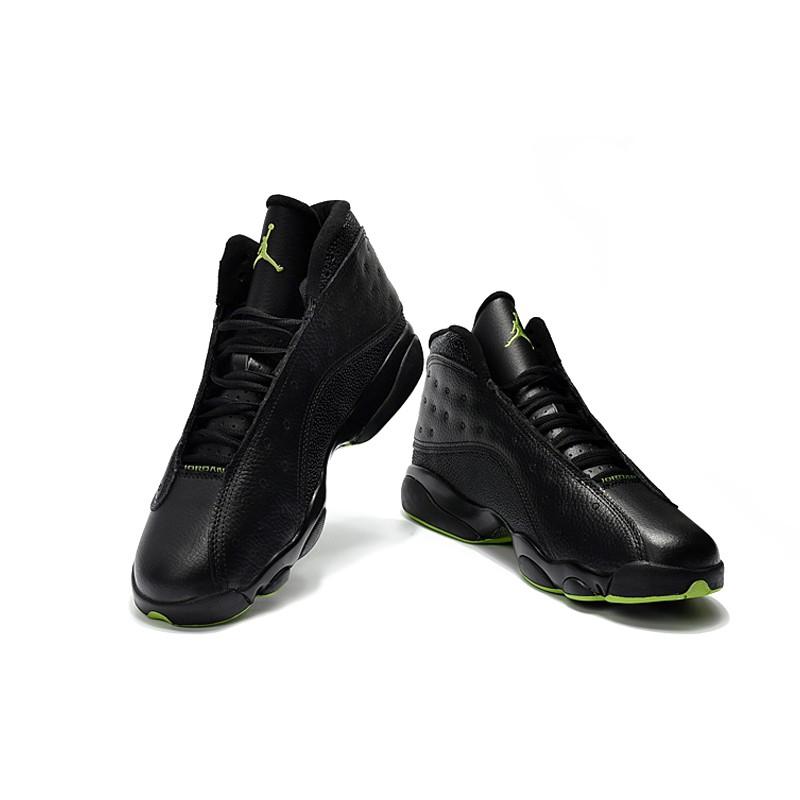 pretty nice 23480 d2e9e Air Jordan XIII 13 Retro Basketball Shoes Black/Green Fur