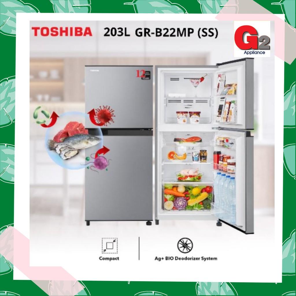 TOSHIBA 203L 2 DOOR REFRIGERATOR GR-B22MP/SS