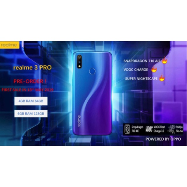 100% Original Realme 3 PRO { 4GB+64GB /6GB + 128GB }