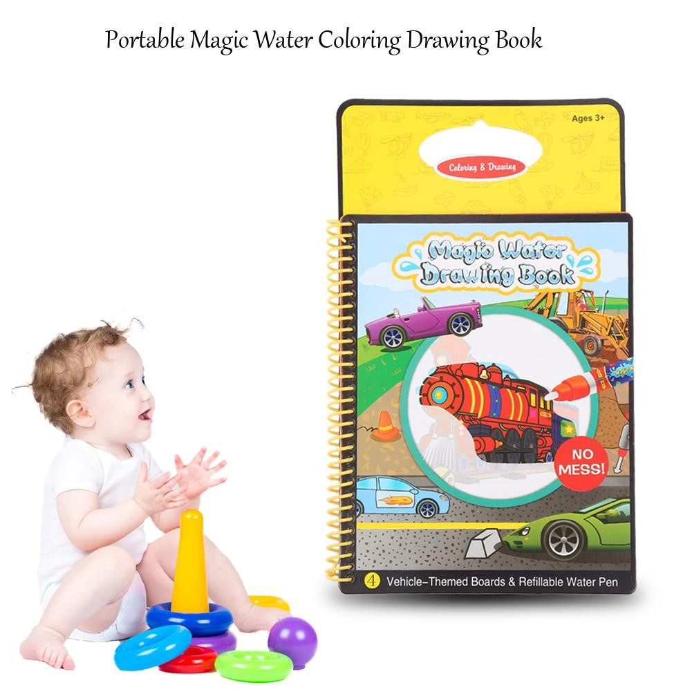Water Coloring Drawing Book with Magic Pen Kids Children Painting ...
