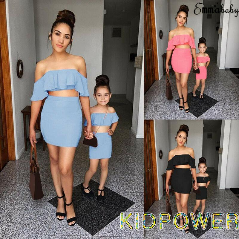 Family Clothes Mom/&Me Mother Daughter Matching Dress Ruffle Tops Skirts Outfits