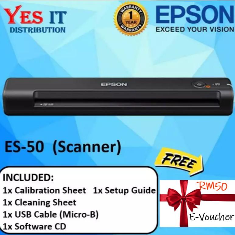 Epson ES-50 Portable Sheet-fed Document Scanner (FREE E-VOUCHER RM50)