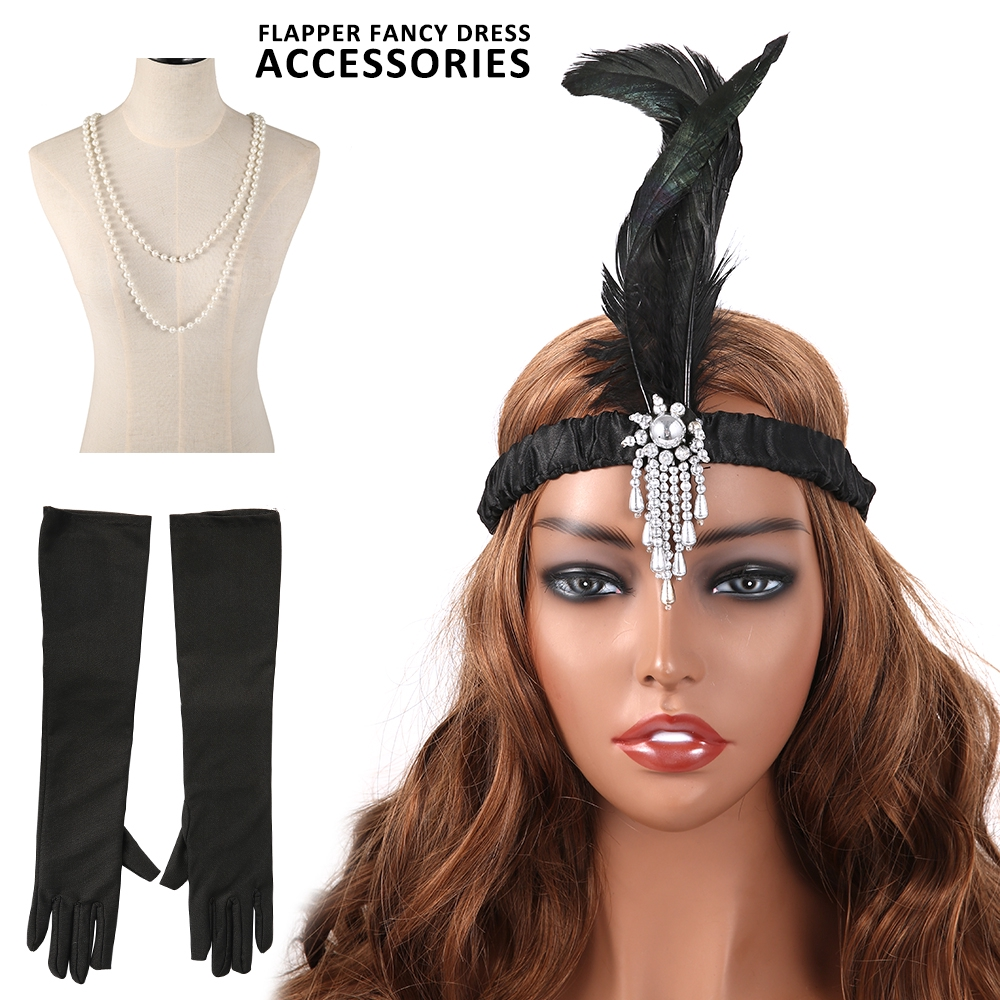 Ladies Flapper Headband Feather 1930/'s 1920/'s Charleston Gatsby Fancy Beaded