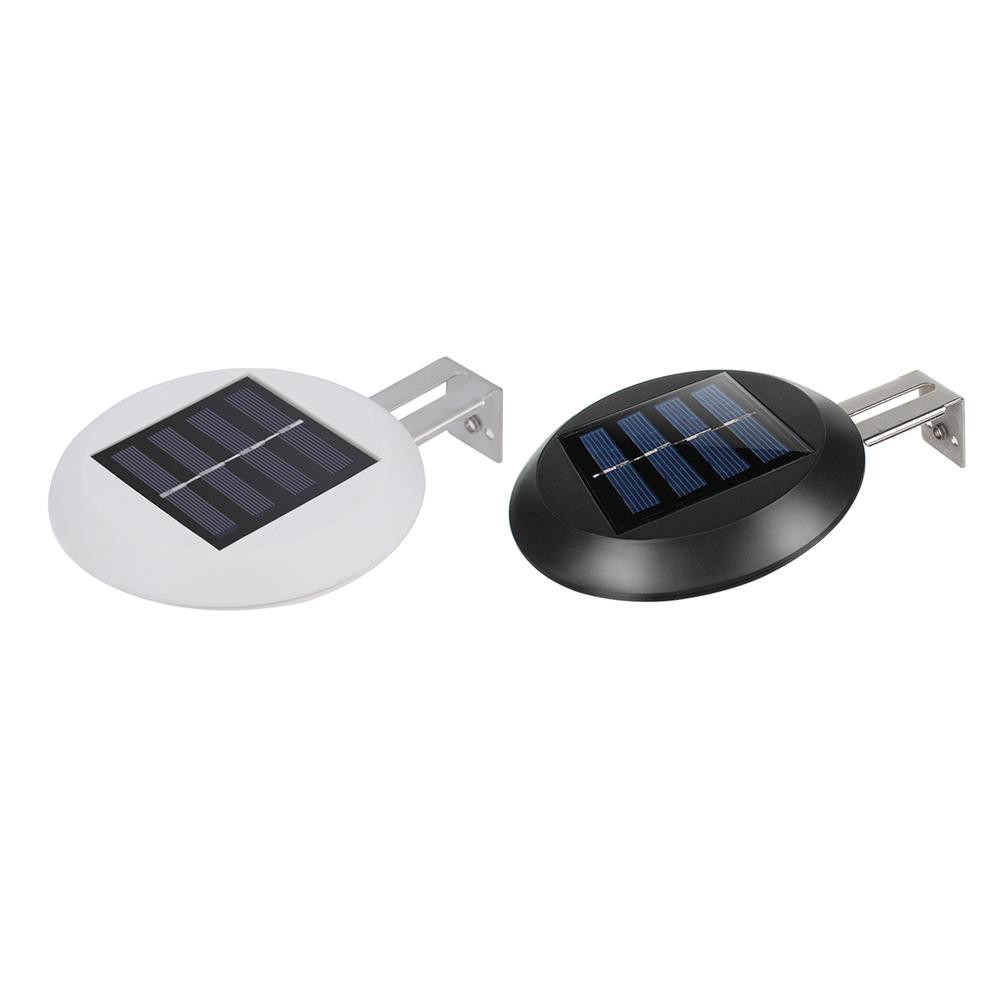 0.3W 3LED Warm White//White Outdoor Solar Powered Wall Light Black Color DC 1.2V