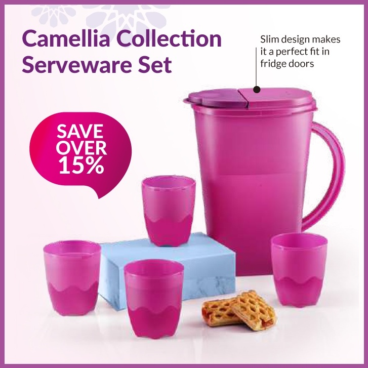 Tupperware Camellia Collection Dining Pitcher (3.7L) eith Tumblers 275ml (4pcs)