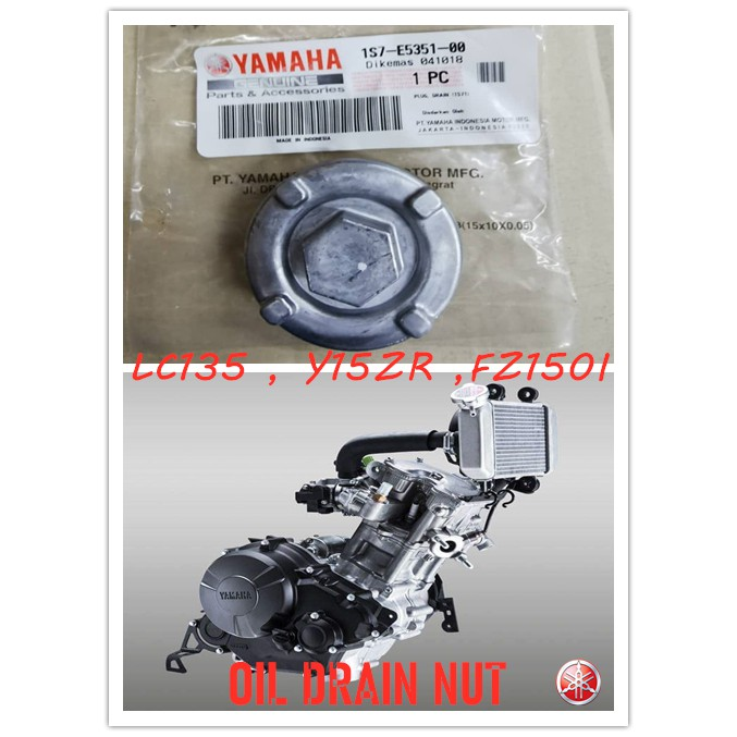 100% ORGINAL HONG LEONG YAMAHA Y15ZR , LC135 V2,V3,V4,V5,V6 , FZ150I NEW SEMI/FULLY ENGINE OIL PLUG DRAIN NUT CAP, ORING