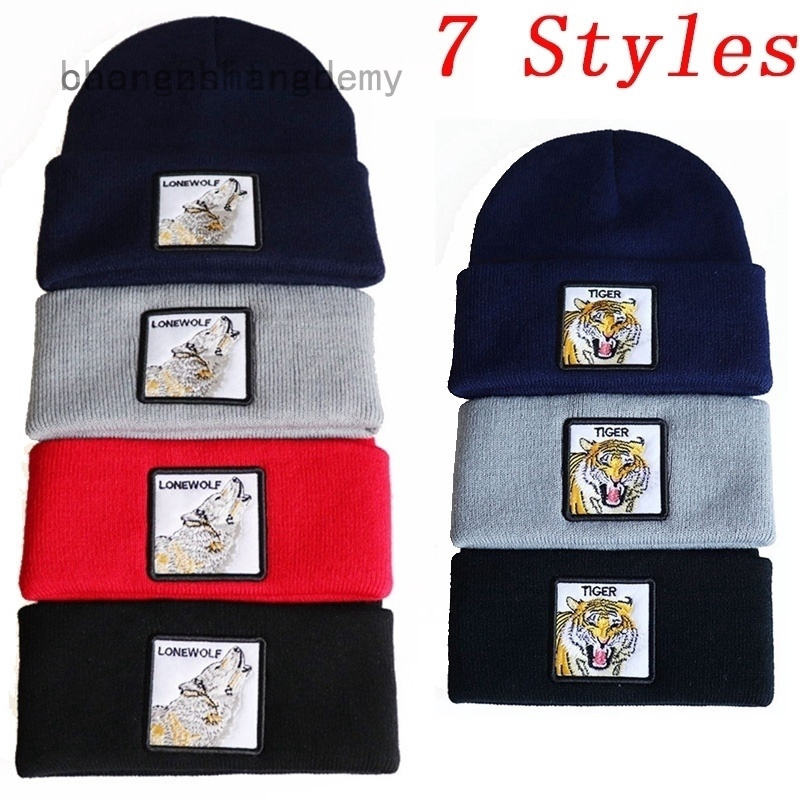 Wolf Painting Knitted Hat Winter Outdoor Hat Warm Beanie Caps for Men Women