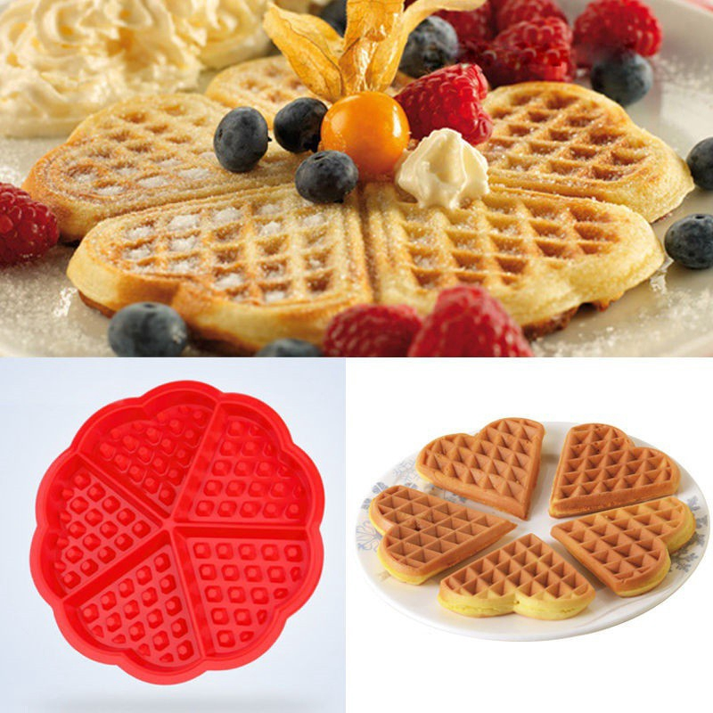 Silicone Waffle Moulds Mold Maker Microwave Baking Cookie Cake Bakeware Tools Shopee Malaysia