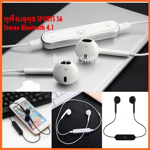 หูฟังบลูทูธ SPORTS S6 หูฟังไร้สาย Stereo Bluetooth 4.1 หูฟังบลูทูธไร้สาย สำหรับ iPhone/Android ทุ