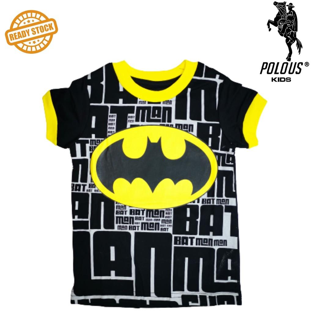 POLOUS Boy Cotton Short Sleeve Round Neck Shirt 9011-BATMAN LOGO