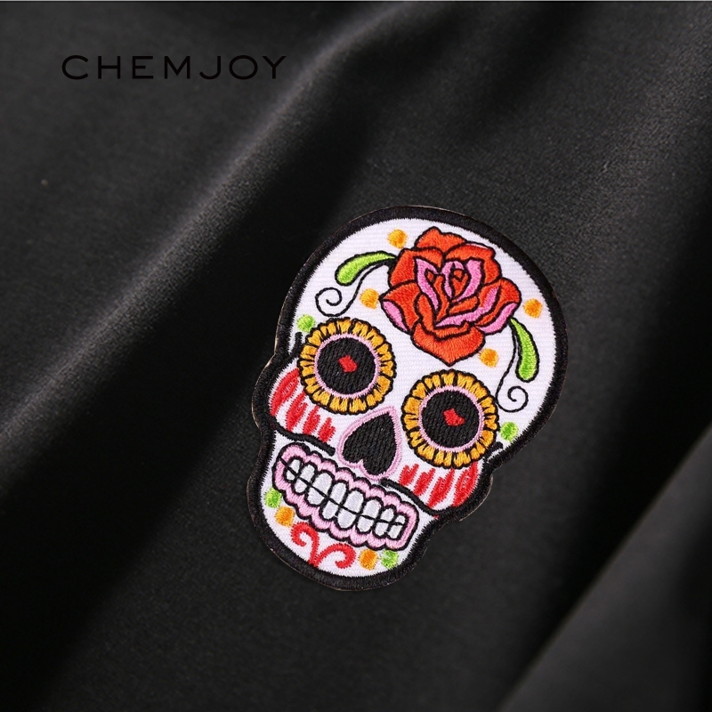 Sugar Skull Cat with flower Embroidered Cloth Iron On Patch