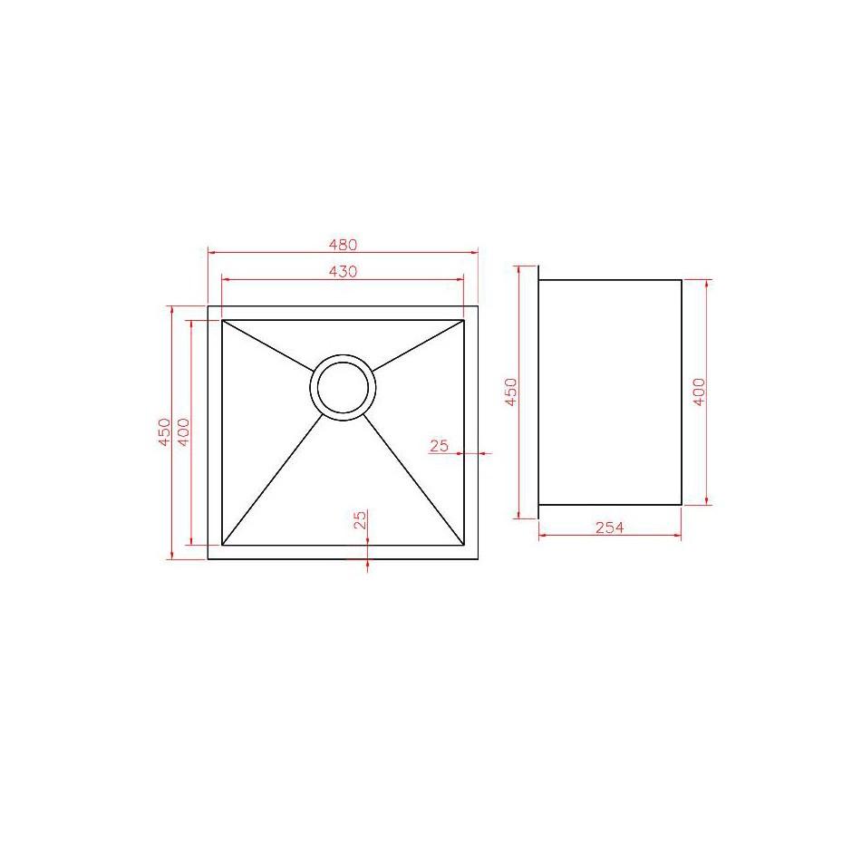 Single Bowl Stainless Steel Sink NKS-4845-R15
