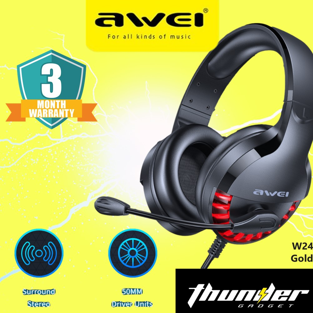 AWEI ES-770i E-SPORTS GAMING HEADPHONE WITH MIC (BLACK) 3MONTHS WARRANTY