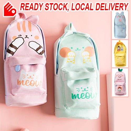 Korea Cute Canvas Student Stationery Box Storage Large Capacity Multipurpose Pencil Case School Office Accessory Bag