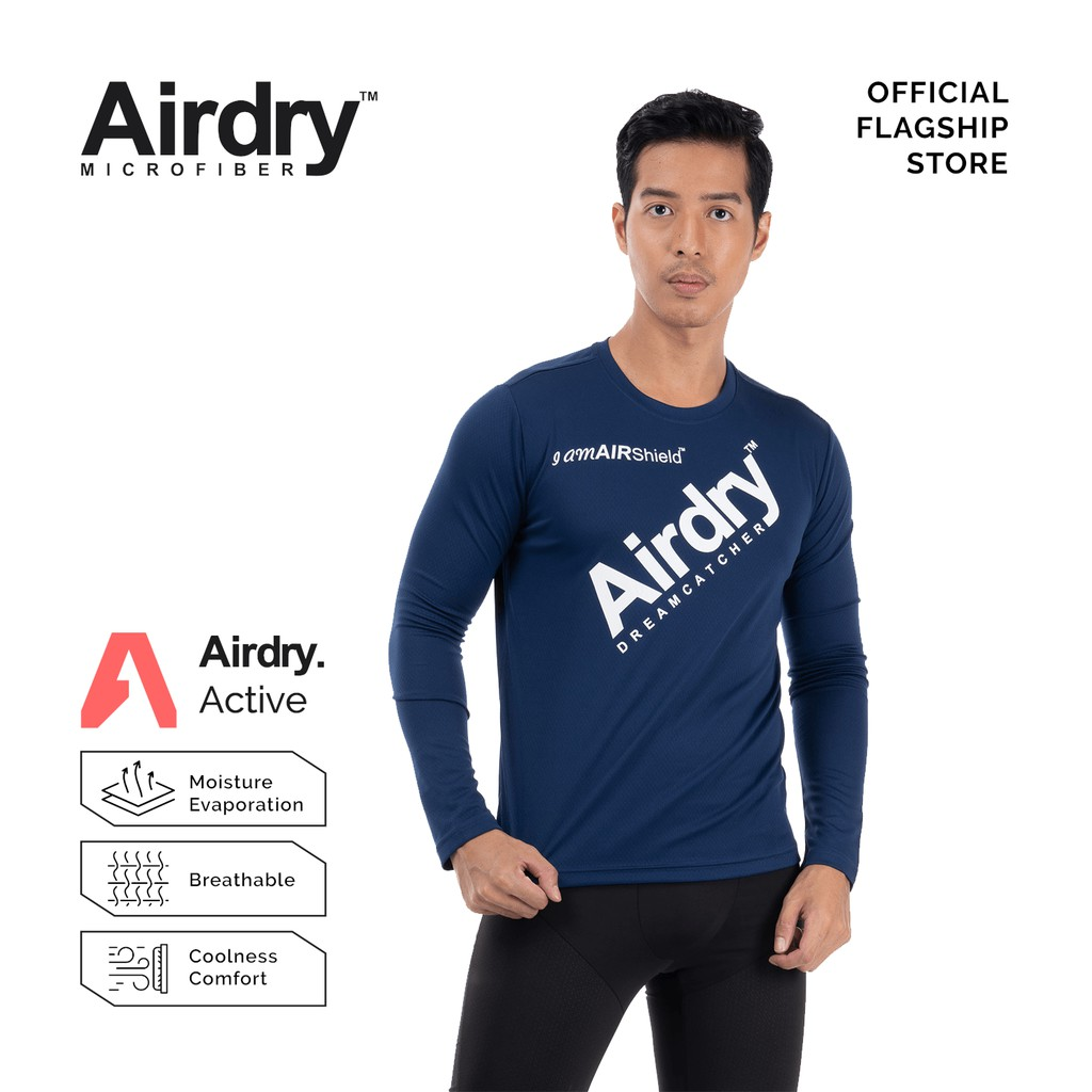 AIRDRY 3D AIR SPACER  Unisex Microfiber Round Neck Long Sleeve T-Shirt  (Royal Blue / Navy Blue) 3D1001