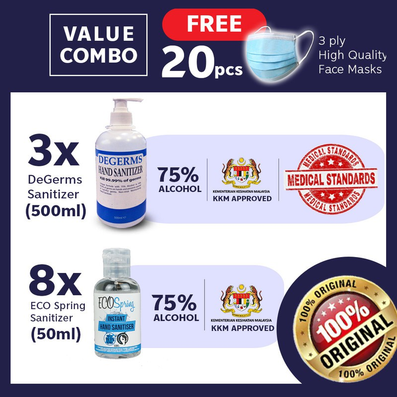 【75% Alcohol Hand Wash】3x Degerms 500mL + (8)Ecospring Hand Gel Free Face Cover