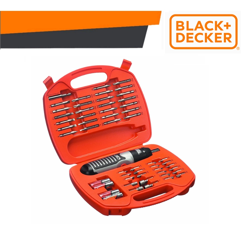 BLACK & DECKER A7071-XJ ALKALINE SCREWDRIVER SET ELECTRIC 54 PIECES TOOL BOX 4AA BATTERY EASY USE SAFETY MINI TOOL