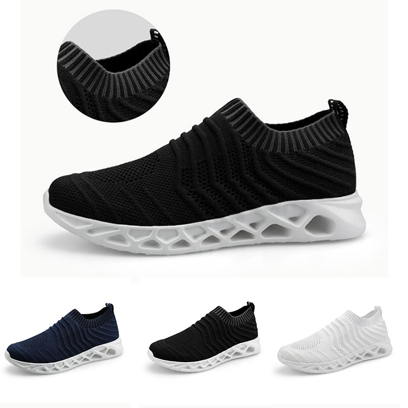 73640a37f721d Men Sports Shoes Lightweight Breathable Hollowed Elastic Opening Running  Shoes