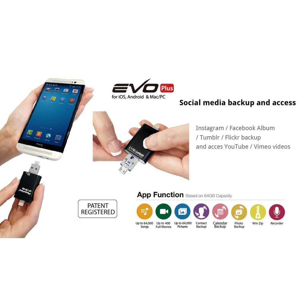 PhotoFast i-Flash Drive EVO Plus 16GB for iOS Android Mac PC USB 3 0