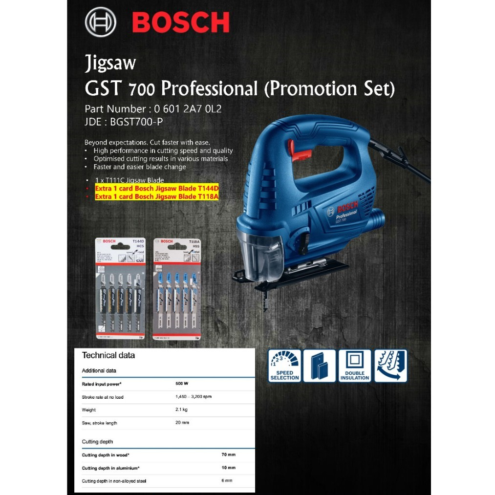 BOSCH GST 700 ELECTRIC JIGSAW C/W FREE T144D & T118A JIGSAW BLADE  (GST700)