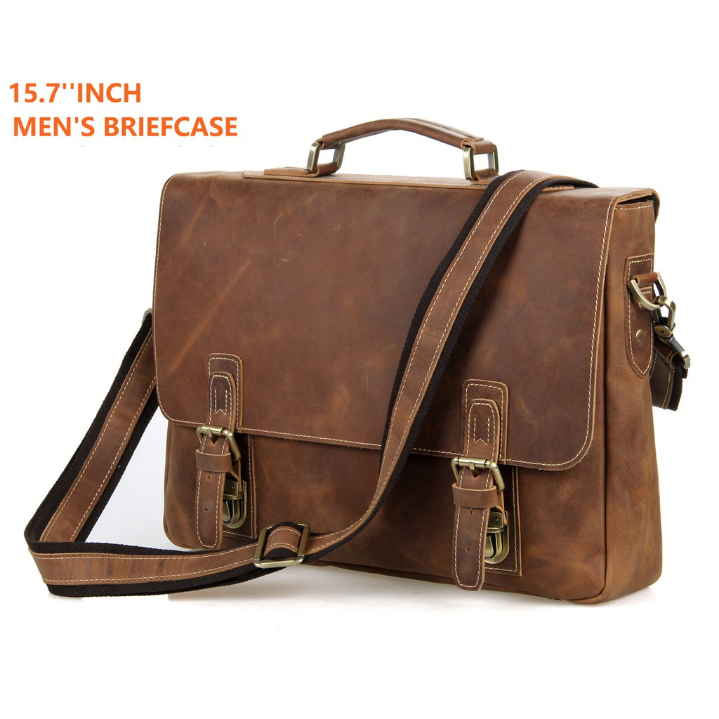 Luxury Handmade Crazy Horse Leather Business Briefcase Casual 15 Inch Laptop  Bag  02b2dc67159a2