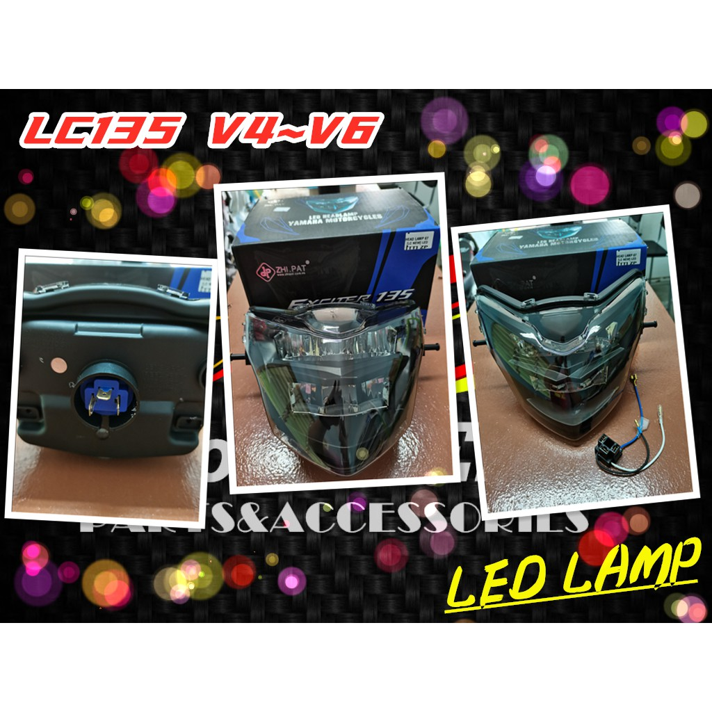 ZP ZHIPAT ZHI PAT LC135 NEW LC135 V2~V6 HANDLE COVER HIGH QUALITY LED HEAD LAMP LIGHT ASSY TINTED SMOKE WITH SOCKET PNP