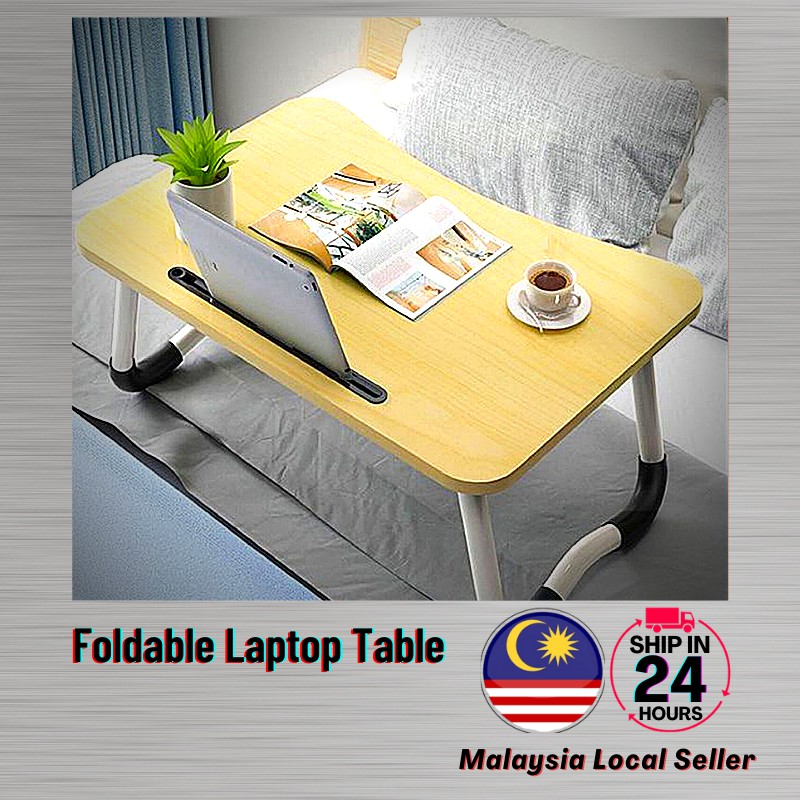 Ready Stock Foldable Laptop Table Portable Anti Slip Notebook Computer BedTable Cup Holder Ipad Slot Home Office