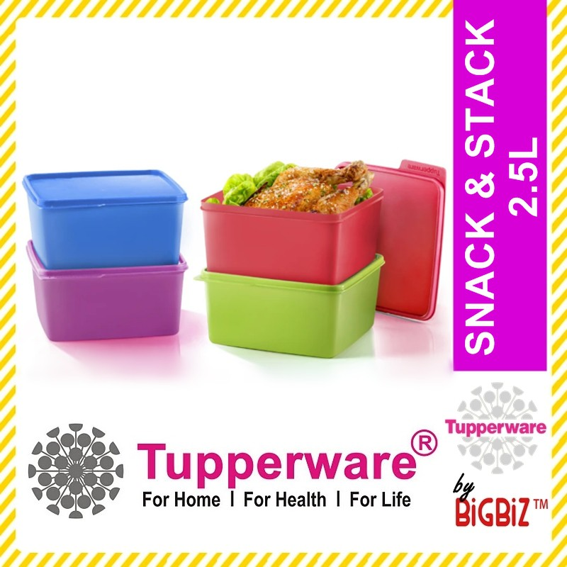 Original TUPPERWARE Snack & Stack 2.5L Large Serving Colorful Container Food Storage Set [Ready Stock]