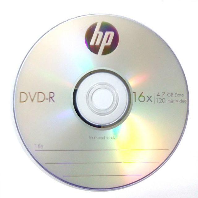 Official HP DVD-R 4.7Gb 120Min 1~16X With Cake Box
