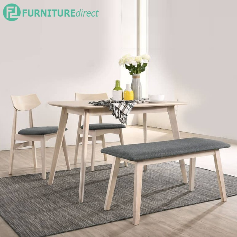 READY STOCK Furniture Direct KALMAR full solid rubberwood 6 seater dining set with bench/ meja makan/dining set