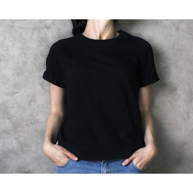 #พร้อมส่ง เสื้อยืดสีพื้น สีดำ ผ้าcotto
