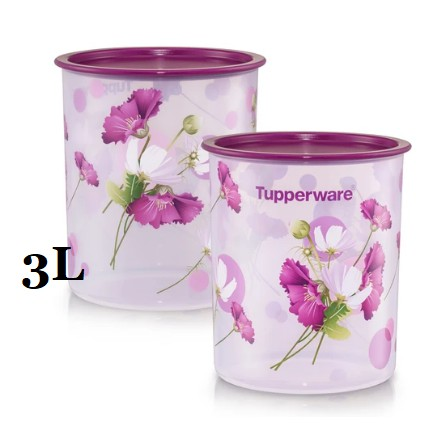 ❤BEST PRICE❤ Tupperware Royale Bloom One Touch Canister Medium 3.0L (2)
