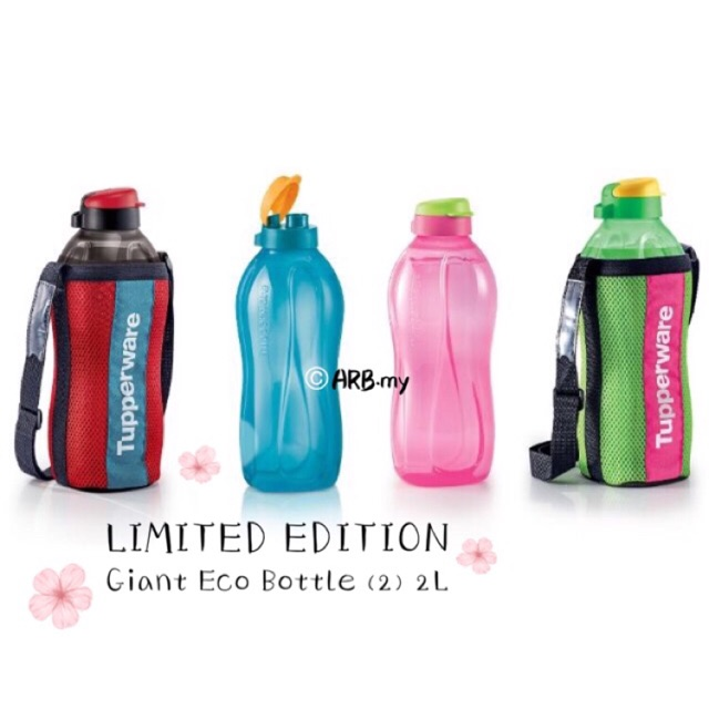 READY STOCK Tupperware Giant Eco Bottle / Bottles (2) 2.0L / 2L with Pouch (1)