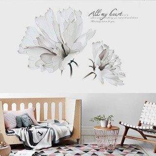 White Flowers Wall Warm And Romantic Bedroom Wall Stickers Wallpaper Living Room Home Decor