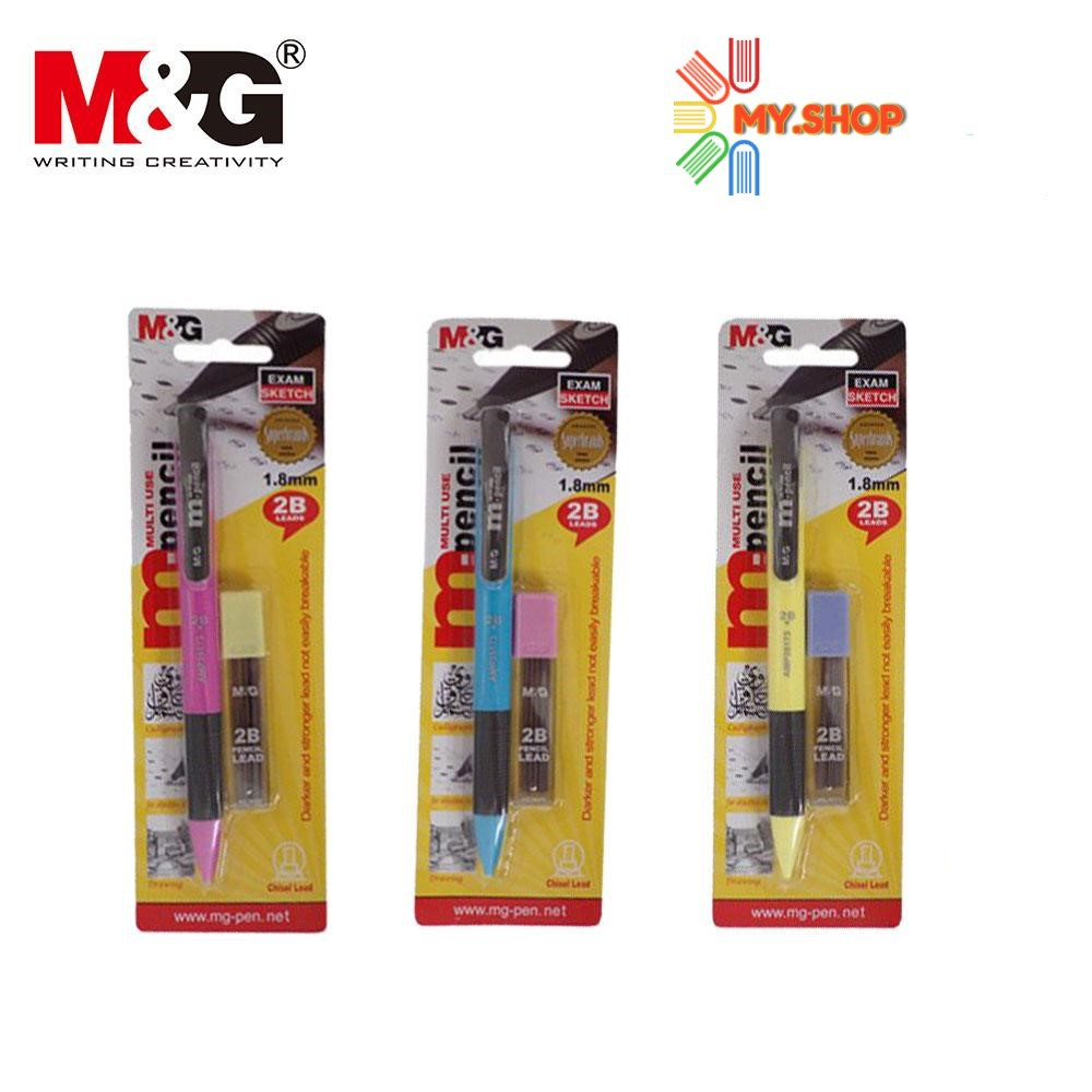 M&G 1.8mm HAMP0355 Multi Use Mechanical Pencil with 2B Pencil Lead For Exam & Jawi Drawing (Chisel Lead)