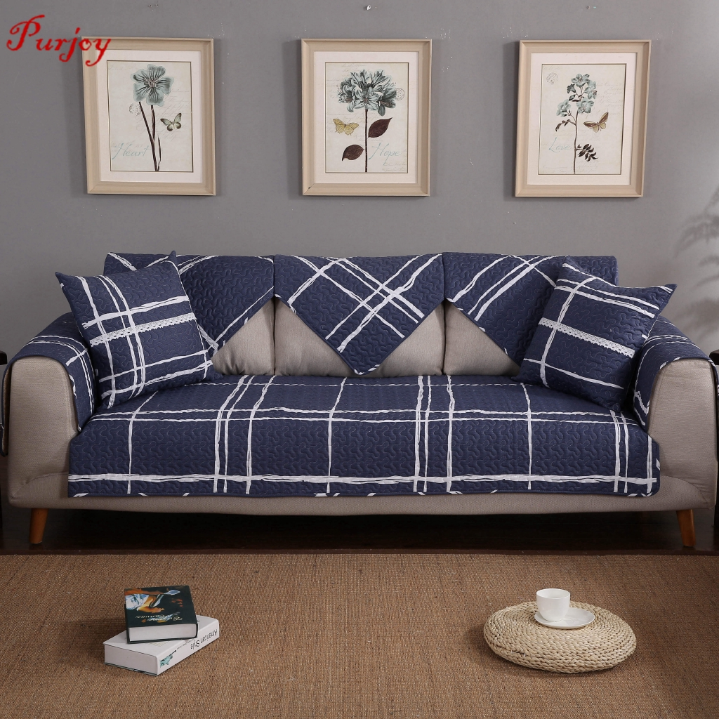 Stupendous Purjoy Cotton Fabric Sofa Cushion Four Seasons Non Slip Cushion Simple Modern Blue Big Plan Sofa Cover Onthecornerstone Fun Painted Chair Ideas Images Onthecornerstoneorg
