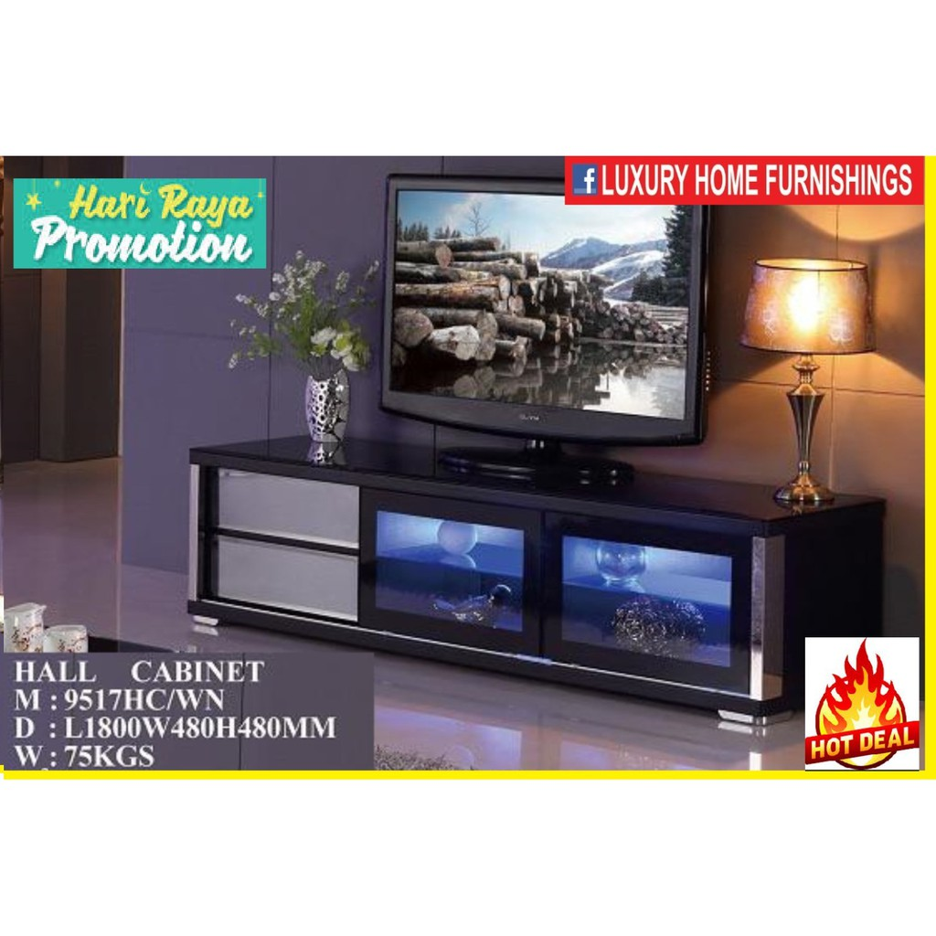 6ft High Gloss & Term-pared GLASS TOP Modern TV CABINET, Dark Brown COLOR, IMPORTED Series!! RM 1,989!! 35% Off!