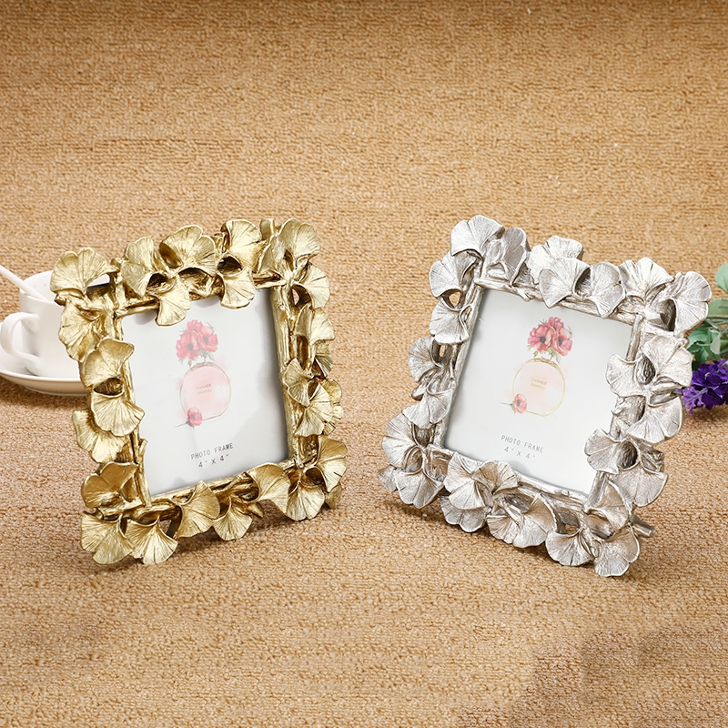 """4/""""//6/"""" Silver Retro Resin Photo Frame Stand Gingko Leaf Picture Holder Table"""