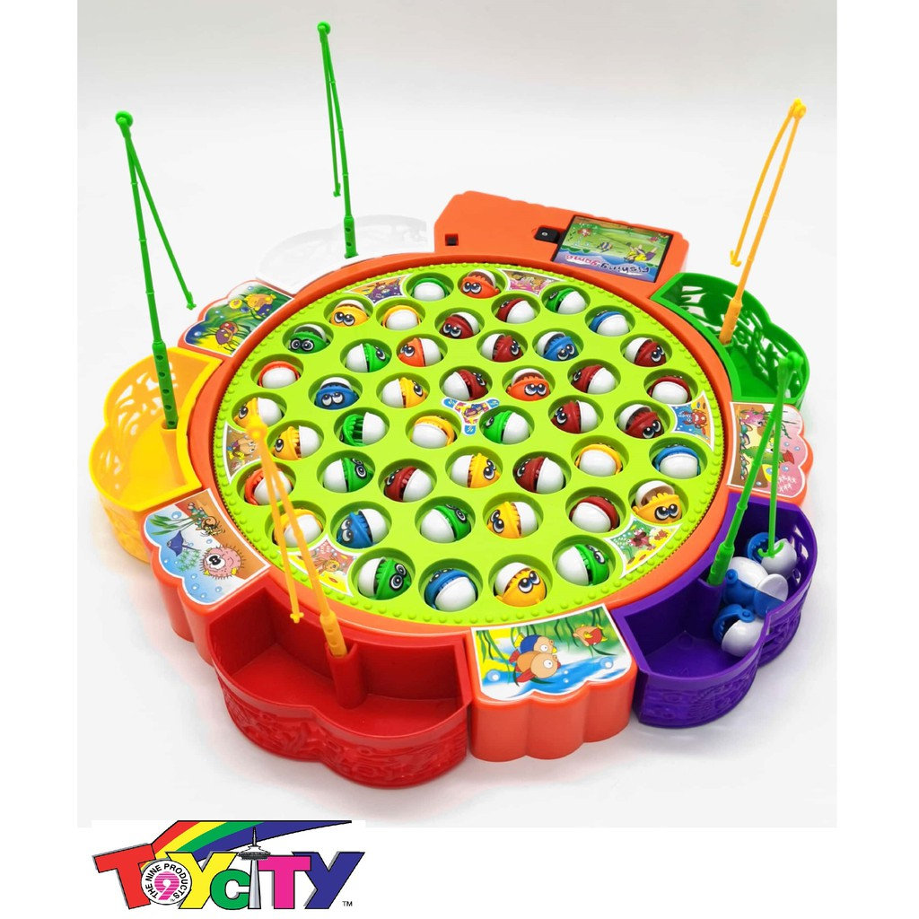BATTERY OPERATED  TOY FISHING GAME 45 FISHES (5 PLAYER) PRETEND PLAY SET FOR KIDS
