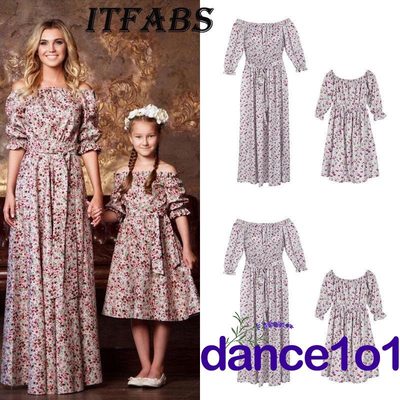 a7996b8d7c ProductImage. ProductImage. Elegant Family Matching Mother Daughter Casual  Long Floral Dress Off