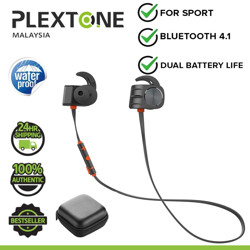 PLEXTONE BX338 Wireless Bluetooth Earphone IPX5 Waterproof Magnetic Dual Battery Workout Sports In-Ear Headphones with M