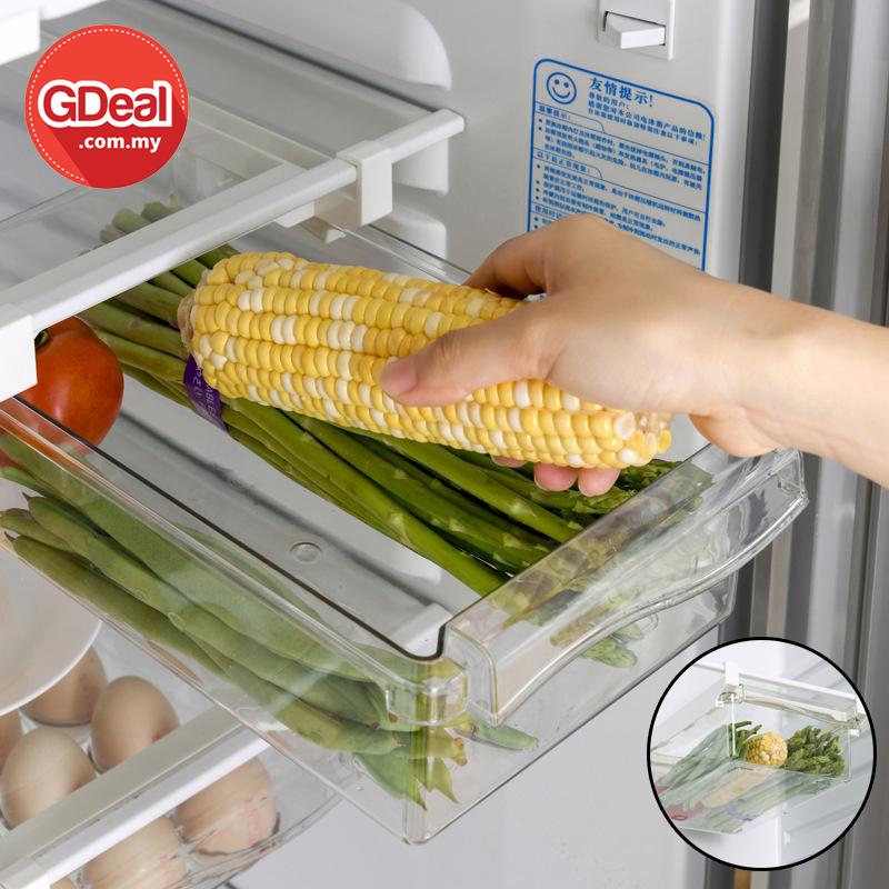 GDeal Refrigerator Drawer Type Space Saving Transparent Pull Out Storage Box Kotak Simpanan