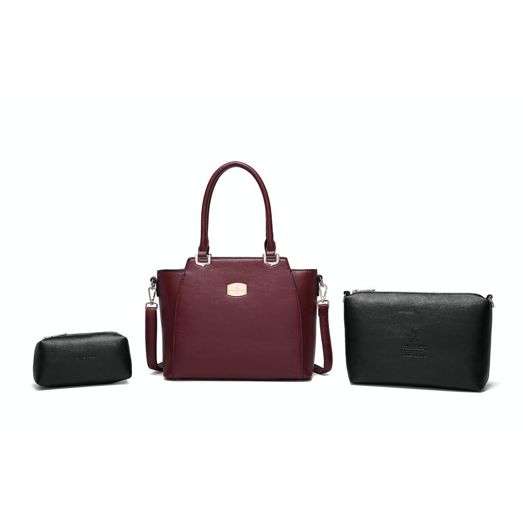ROYAL POLO Danna Handbag 3 in 1 Set [Free Sling Bag + Button Envelope Wristlet]
