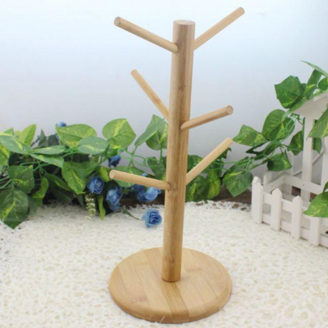 [ READY STOCK ]  Wooden Tree Shape Coffee Mug Tree Tea Cup Holder Stand Mug Storage Rack With 6 Hooks Wood